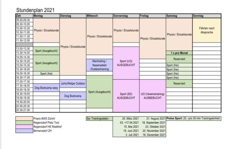 Neuer Stundenplan ab April 2021