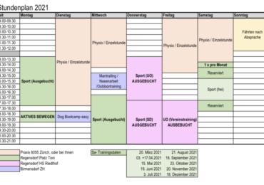 Neuer Stundenplan ab September 2021